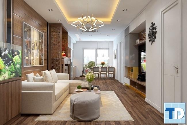 Mẫu phòng khách mộc mạc đơn giản với nội thất gỗ