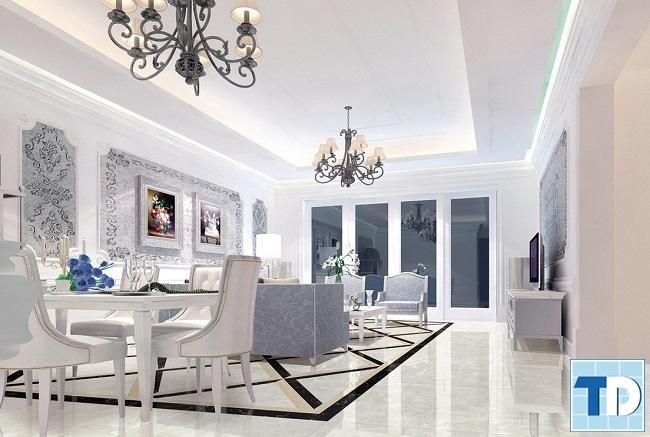 Mẫu phòng khách trang nhã với màu xanh trắng