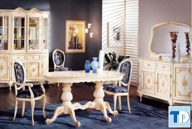 Mẫu bàn ghế gỗ tân cổ điển đẹp phong cách Châu Âu