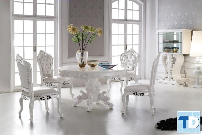 Bàn ghế tân cổ điển gỗ trắng sang trọng