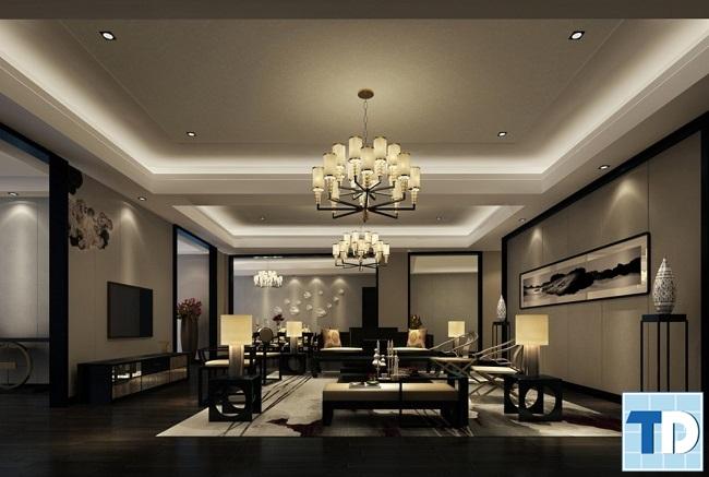 Phòng khách nhà 4 tầng tân cổ điển đẹp
