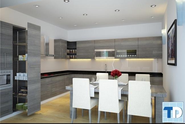 Căn bếp tiện nghi với nội thất cao cấp