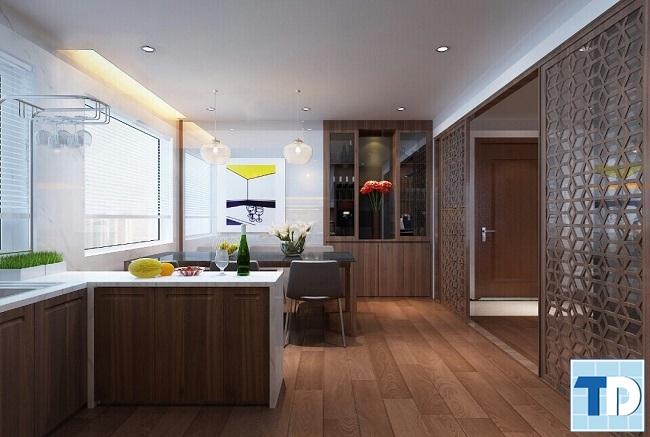Phòng bếp nội thất gỗ mộc mạc mà tinh tế ấm cúng