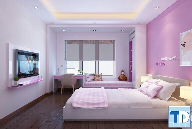 Phòng ngủ gọn gàng xinh xắn đáng yêu