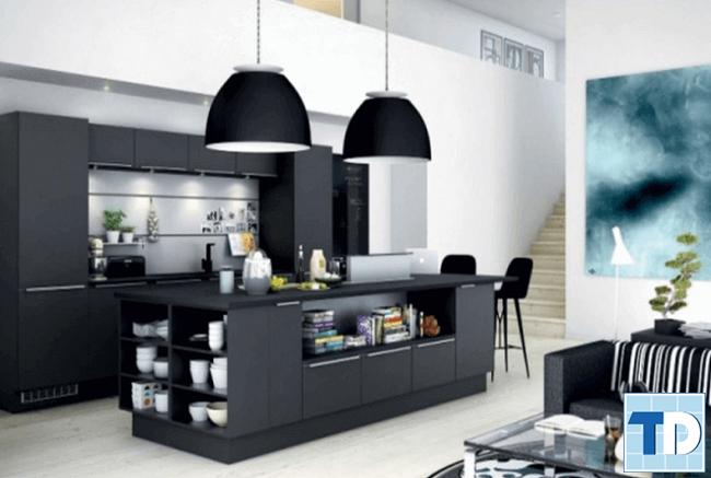 Phòng bếp màu đen mang tới vẻ lịch lãm