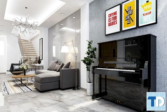 Phòng khách nội thất nhà phố cao cấp