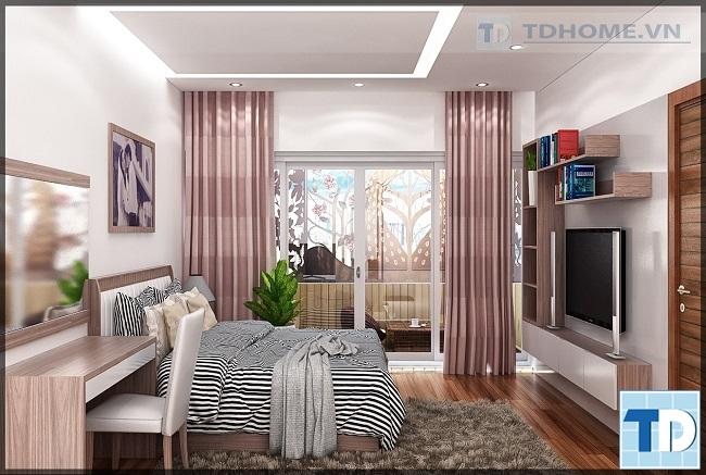 Phòng ngủ vợ chồng anh Dương toàn bộ nội thất gỗ