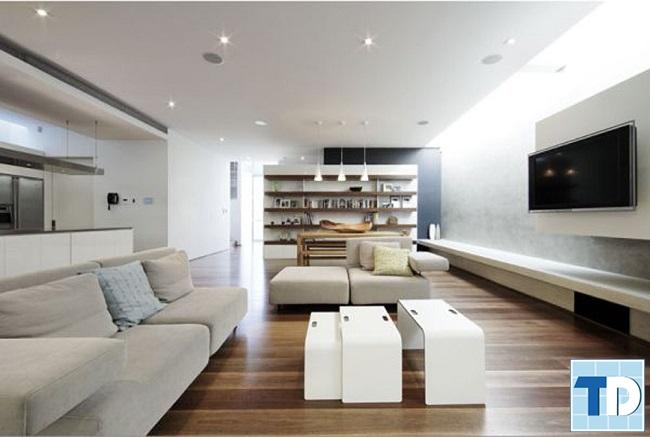 Mẫu phòng khách trang nhã hiện đại với nội thất trắng