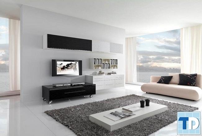 Phòng khách đơn giản với thiết kế mở
