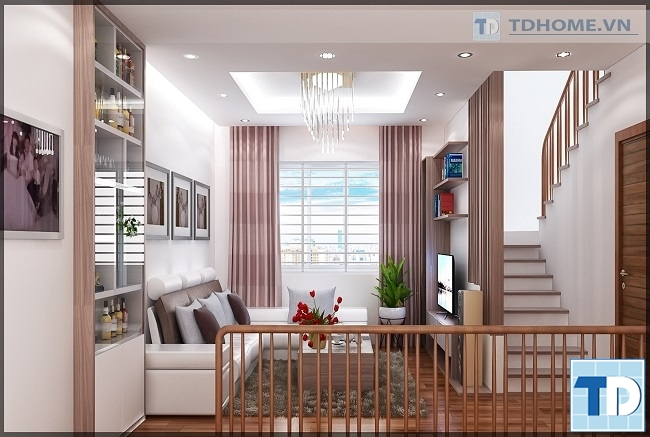 Phòng khách nội thất gỗ hiện đại