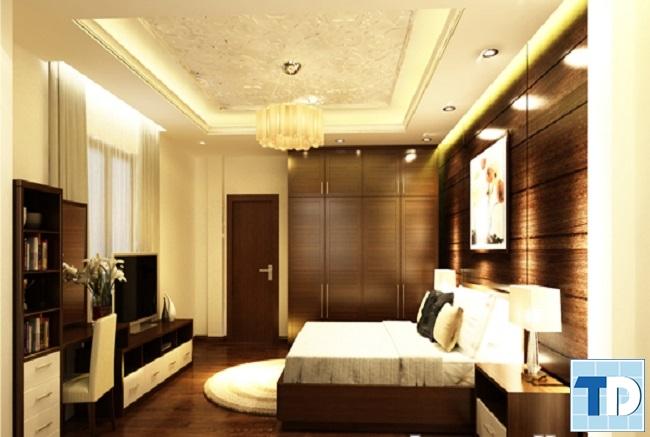 Phòng ngủ master sang trọng với gam màu trầm ấm