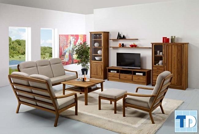 Phòng khách gỗ hiện đại
