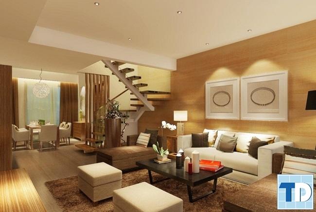 Nội thất phòng khách bằng gỗ đơn giản mà tinh tế