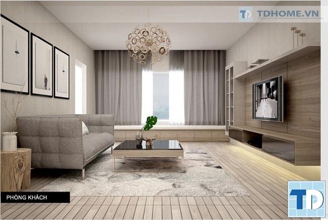 Nội thất phòng khách đồng bộ với tone màu xám tinh tế