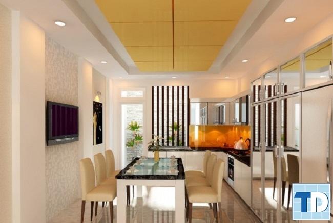 Phòng ăn và phòng bếp hiện đại tiện nghi