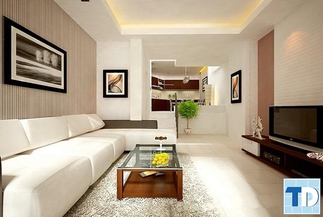 Phòng khách nhà phố hiện đại đẳng cấp