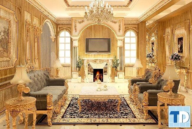 Phòng khách tân cổ điển cao sang quyền quý