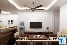 Thiết kế nội thất căn hộ Ecopark 70m2 từ gỗ óc chó đẳng cấp -  nhà anh Vũ