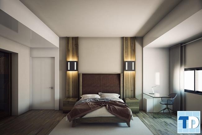 Phòng ngủ con trai lớn với tone màu trầm mạnh mẽ