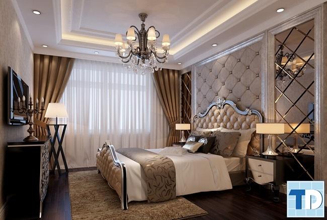 Phòng ngủ master trầm ấm sang trọng