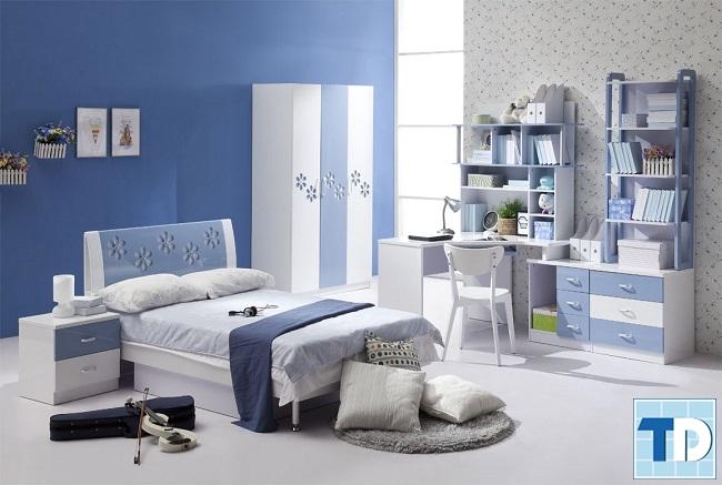 Phòng ngủ con gái nhỏ với gam xanh đẹp mắt