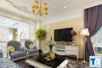 Thiết kế nội thất chung cư Vinhomes Sky Lake tân cổ điển - nhà chị Tâm
