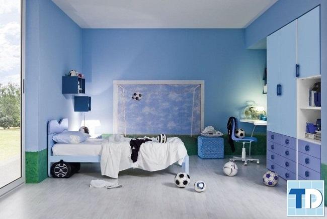 Phòng ngủ con trai năng động trong gam xanh mạnh mẽ
