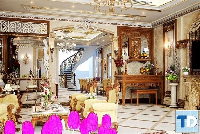 Phòng khách với thiết kế tân cổ điển mạ vàng