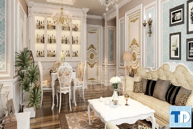 Thiết kế nội thất chung cư Golden Palace tân cổ điển - Nhà anh Hưng