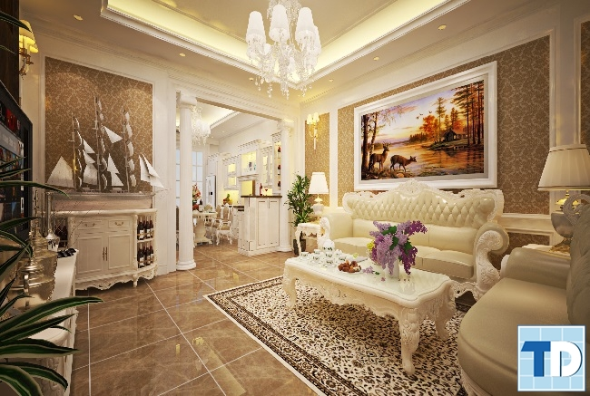 Thiết kế nội thất chung cư Gold Silk tân cổ điển sang trọng - nhà anh Hải