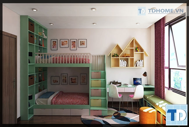 thiết kế nội thất phòng ngủ trẻ em đẹp lung linh